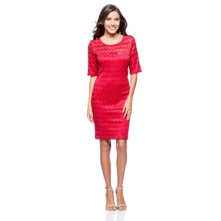 Connected Apparel Women's 3/4 Sleeve Chevron Lace Dress
