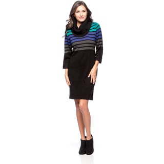 Connected Apparel Stripe Cowl Sweater Dress