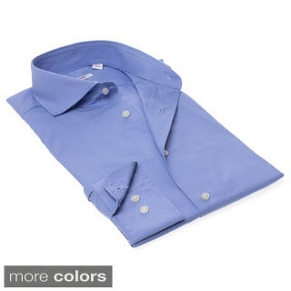 Isaac Mizrahi Men's Slim Fit Solid Oxford Dress Shirt