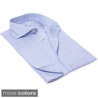 Isaac Mizrahi Men's Slim Fit Solid French-cuff Dress Shirt