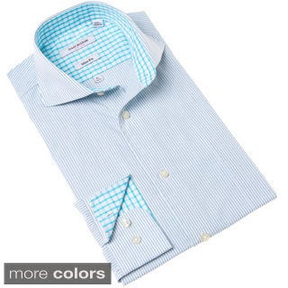 Isaac Mizrahi Blue/ Purple Stripe Dress Shirt