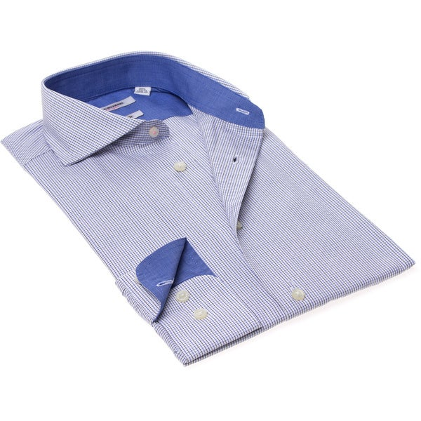 Isaac Mizrahi Men's Slim Fit Blue Check Dress Shirt