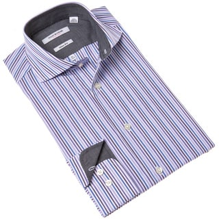 Isaac Mizrahi Purple Striped Long Sleeve Dress Shirt