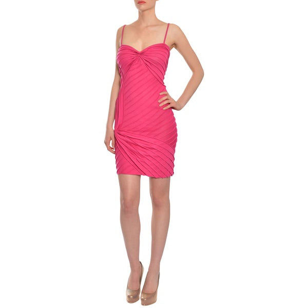 Emanuel Ungaro Women's Fuschia Knit Cocktail Day Dress