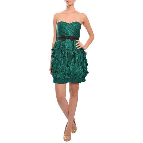 Phoebe Women's Emerald Silk Ruffled Strapless Cocktail Dress