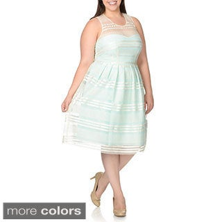 Decode Women's Plus Size Chiffon Over Tulle Sleeveless Party Dress