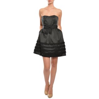 Phoebe Couture Women's Black Bow Tiered Strapless Cocktail Dress