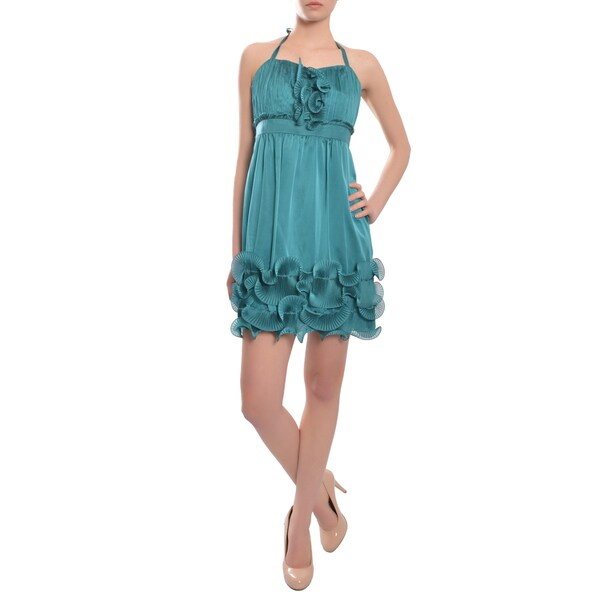 Phoebe Couture Women's Teal Ruffle Pleated Cocktail Dress