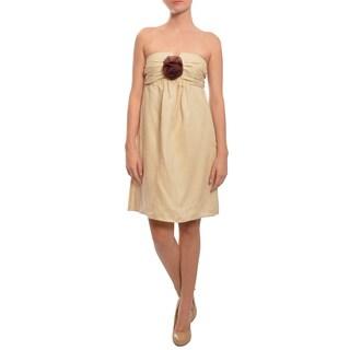 Prairie New York Women's Linen Rosette Cocktail Day Dress