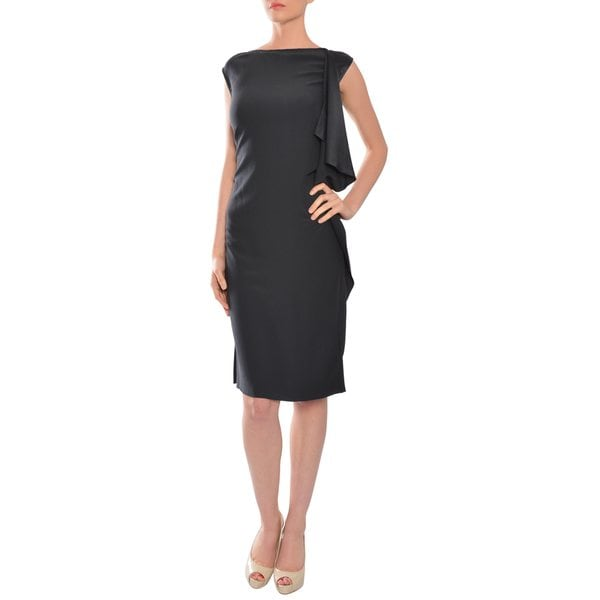 Halston Women's Black Silk Crepe Cocktail Evening Dress