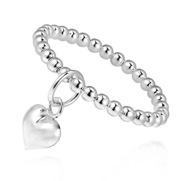 Cute Dangle Heart Eternity Bead Ball Sterling Silver Ring (Thailand)