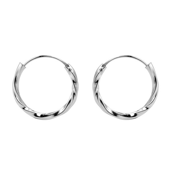 Shiny Twist Texture 17mm Hoop .925 Silver Earrings (Thailand)