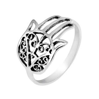 Hand of Hamsa Protection Filigree .925 Silver Ring (Thailand)