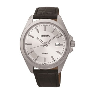 Seiko Men's SUR065 Stainless Steel and Leather Chronograph Watch