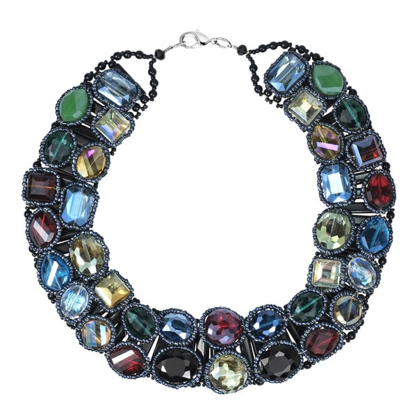 Sparkling Treasure Multicolor Crystal Statement Necklace (Thailand)