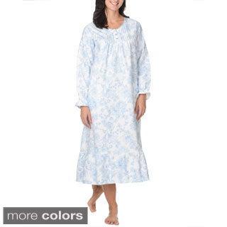La Cera Women's Floral Print Cotton Night Gown