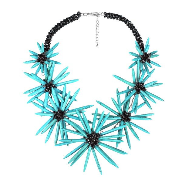 Radiant Floral Turquoise Stone Statement Necklace (Thailand)