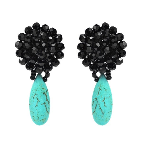 Black Chrysanthemum Crystal Turquoise Drop Clip On Earrings (Thailand)