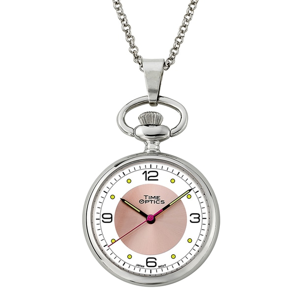 Open-faced Pink Sunray Dial Pendant Watch