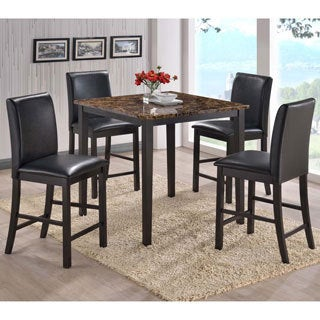 Baxton Studio Jet Counter Faux Marble 5-piece Dining Set