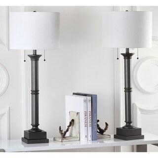 Safavieh Lighting 35.25-inch Estilo Column Silver Grey Table Lamp (Set of 2)