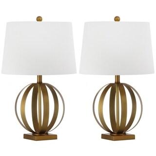 Safavieh Lighting 24.5-inch Euginia Sphere Gold Table Lamp (Set of 2)