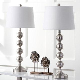 "Safavieh Lighting 33-inch Stacked Gazing Ball Nickel Table Lamp (Set of 2) - 14""x14""x32.5"""