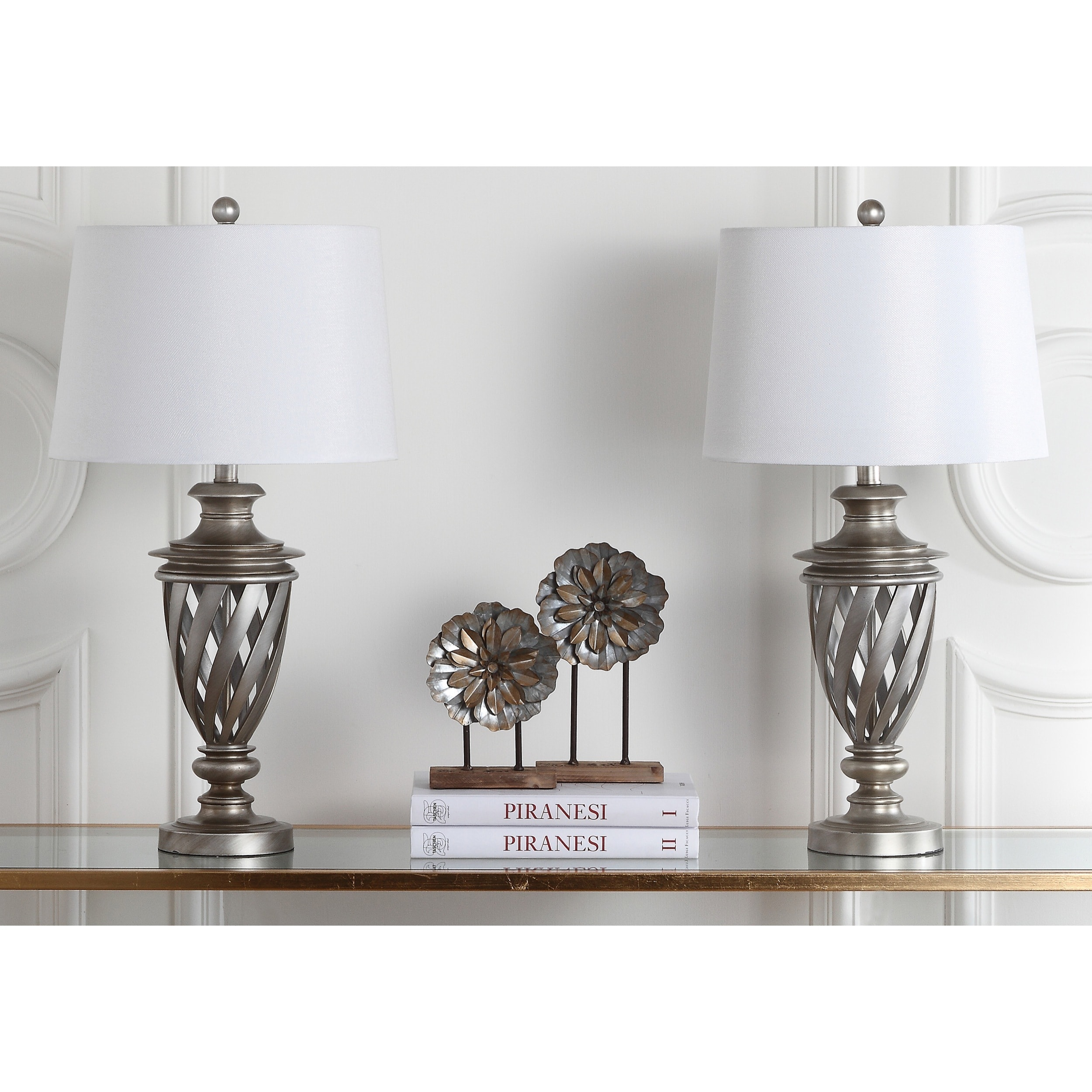 Safavieh Indoor 1-light Byron Urn Antiqued Silver Table Lamp (Set of 2) at Sears.com