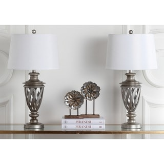 Safavieh Lighting 28.5-inches Byron Urn Antiqued Silver Table Lamp (Set of 2)