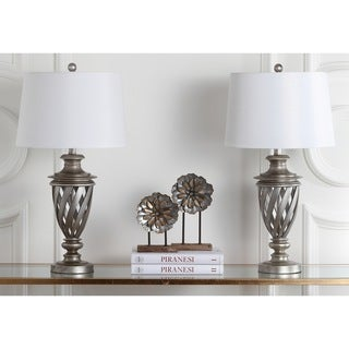 Safavieh Indoor 1-light Byron Urn Antiqued Silver Table Lamp (Set of 2)
