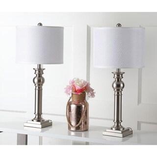 Safavieh Lighting 28.25-inch Argos Column Nickel Table Lamp (Set of 2)