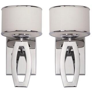 Safavieh Indoor 1-light Lenora Chrome Drum Sconce (Set of 2)