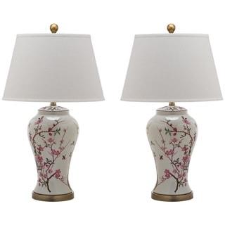 Safavieh Indoor 1-light Spring White/ Pink Blossom Table Lamp (Set of 2)