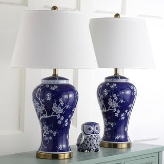 "Safavieh Lighting 29-inch Spring White/ Navy Blossom Table Lamp (Set of 2) - 17""x17""x29"""