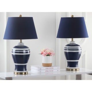 Safavieh Lighting 29-inches Pottery Navy Stripe Ginger Jar Lamp (Set of 2)