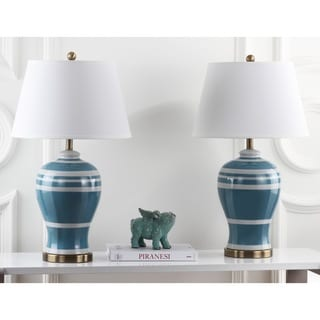 Safavieh Indoor 1-light Pottery Blue Stripe Ginger Jar Lamp (Set of 2)