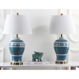 Safavieh Lighting 29-inch Pottery Blue Stripe Ginger Jar Lamp (Set of 2)