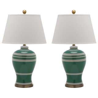 Safavieh Lighting 29-inch Pottery Green Stripe Ginger Jar Lamp (Set of 2)