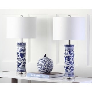 Safavieh Lighting 28.5-inches Sandy White/ Blue Table Lamp (Set of 2)