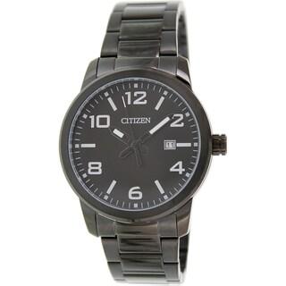 Citizen Men's BI1025-53E Black Stainless Steel Quartz Watch with Black Dial