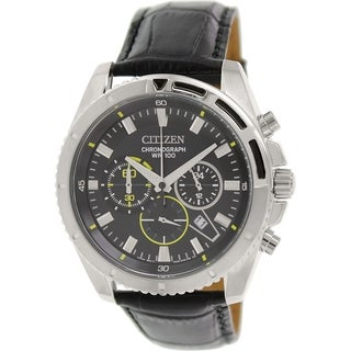 Citizen Men's Chronograph AN8015-01E Black Leather Quartz Watch with Black Dial