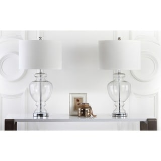"""Safavieh Lighting 28-inch Clear Glass Table Lamp (Set of 2) - 15""""x15""""x27"""""""