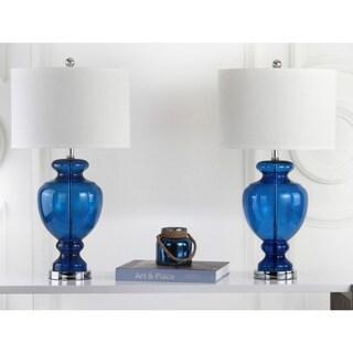 "Safavieh Lighting 28-inch Navy Glass Table Lamp (Set of 2) - 15""x15""x27"""