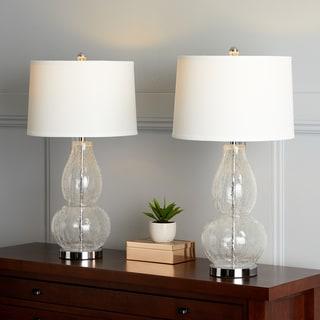 "Safavieh Lighting 28.5-inch Mercurio Clear Crackle Double Gourd Lamp (Set of 2) - 15"" x 15"" x 28.5"""