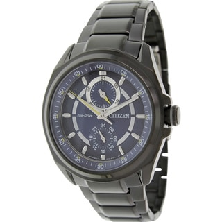 Citizen Men's Eco-Drive BU3005-51L Grey Stainless Steel Eco-Drive Watch with Blue Dial