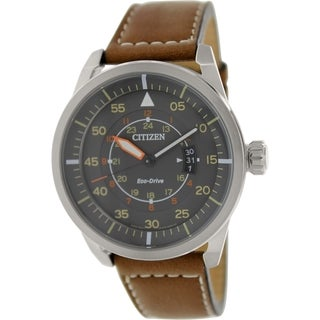 Citizen Men's Eco-Drive AW1360-12H Brown Leather Eco-Drive Watch with Grey Dial