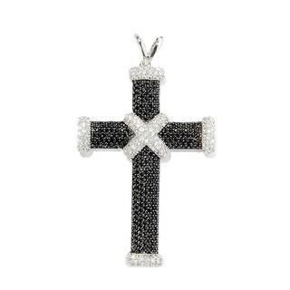 Sterling Silver Black Spinel White Zircon Cross Pendant