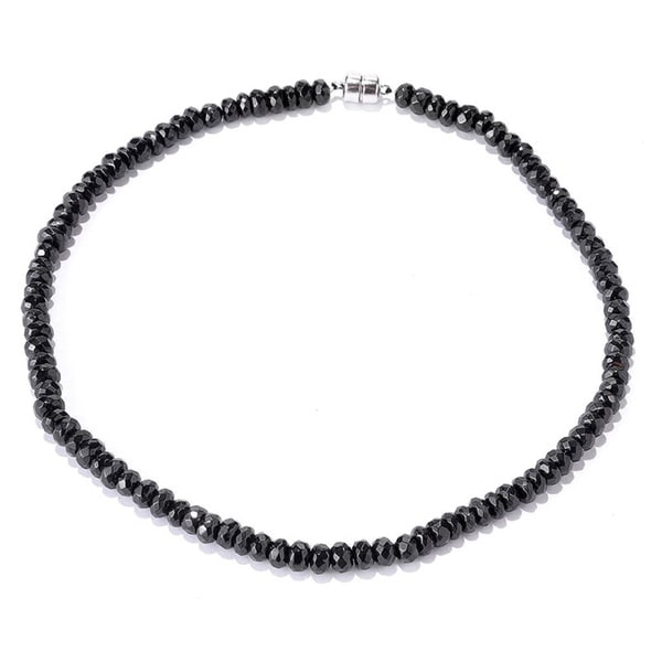 Sterling Silver Faceted Black Spinel Bead Necklace