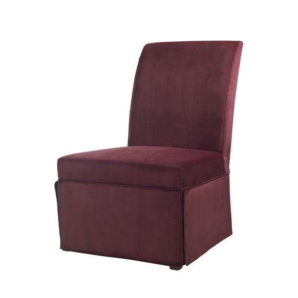 Powell Port Purple Velvet Skirted Parsons Chair Slipcover