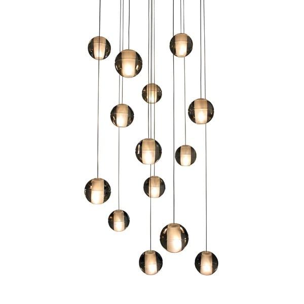 14-Light Glass Globe Bubble Pendant Chandelier